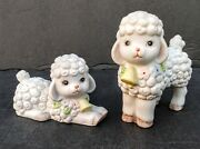 2 Vtg Lefton Figurines - White Lambs / Sheep - With Bells And Flowers Around Neck