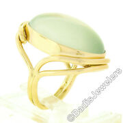 14k Gold Oval Cabochon Gia Bezel Light Yellow Moonstone Solitaire Cocktail Ring