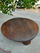 Antique Original Wooden Chapati Bread Rolling Plate Old Hand Carved Kitchenware