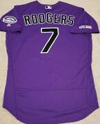 2019 Brendan Rodgers Game Used Issued Colorado Rockies Jersey Mlb Holo