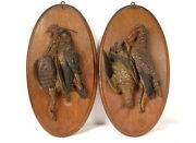 Pair Sculptures Trophies Hunting Birds Woodcock Partridge Terracotta 19andegrave