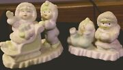 Vintage Snowbabies Figurines Set One On Sled And One Slid Down Nr Mint Condition