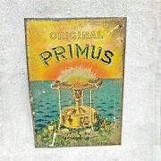 1920s Vintage Rare Advertising Sweden Primus Brass Stove Embossed Tin Sign Litho