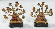 Delightful 1800and039s Dollhouse Miniature 1 3/4 Carving Of Lovers Candelabras