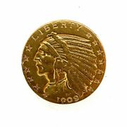1909 D 5 Dollar United States Indian Head Half Eagle Gold Coin.
