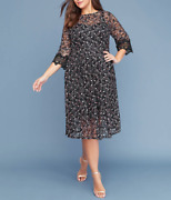 Lane Bryant Black Pink Embroidered 3/4 Sleeve Midi Fit And Flare Dress Plus Sz 16
