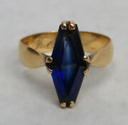 Vintage 18k Gold 1898 Swedish Crafted Trapezoid Cut Sapphire Ring 8 1/2