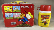 Vintage 1965 Peanuts Metal Lunch Box And King Seeley Thermos Snoopy, Red Yellow