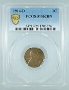 1914-d Lincoln Cent Ms-62 Bn Pcgs Certified
