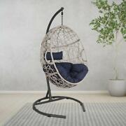 Outdoor Patio Wicker Hanging Basket Swing Drop Egg Chair With Cushion And Stand