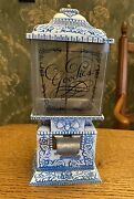 Vintage Goodies Metal Gumball Candy Nut Dispenser Cupid Hearts Acorns Blue White