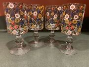 Glass Water Or Wine Goblets Flowers Floral Daisy Rose Tulip Set Of 4