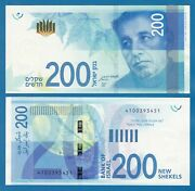 Israel 200 Shekels P 68 New Date 2020 2021 And New Signature Unc Low Shipping