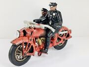 1930and039s Cast Iron Hubley Harley Motorcycle And Sidecar - Rare Headlight Version