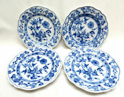 4 Blue Onion Meissen Porcelain Germany Bread And Butter Plates, Oval Stamp