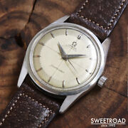 1956 Antique Omega Seamster Ref.2869-1 Two-tone Silver Dial Automatic 34mm Ss