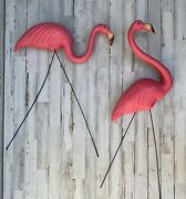 Vintage Blow Mold Pink Flamingos Plastic Yard Decoration Made In Usa W Legs