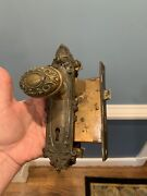 Antique Brass Y And T Yale And Town Doorknob Backplate And Lock Set