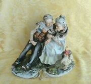 Large Capodimonte Italy Marked Porcelain Figurine Old Couple With Roosters