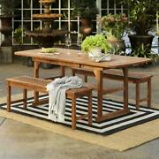 Wooden 3-piece Extendable Outdoor Patio Dining Set Picnic Style Table And Bench