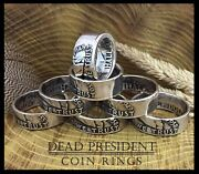 1950 Silver Franklin Half Dollar Ring Size 12 Handcrafted