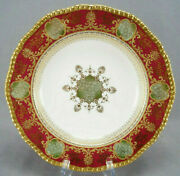 Coalport Red Green Raised Beaded Gold Floral Scrollwork 10 1/4 Inch Deep Plate B