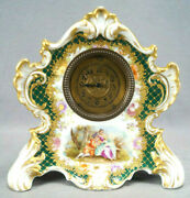 Dresden Hirsch Hand Painted Courting Couple Green Beaded And Raised Gold Clock