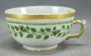 19th Century Chinese Export Hand Painted Pink Floral Band And Gold Tea Cup