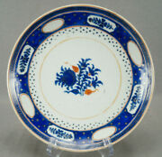 18th Chinese Export Hand Painted Cobalt And Orange Floral And Gold Stars Plate A