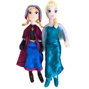 """Disney Frozen Plush Dolls Approx 30"""" Elsa And Anna Plush Soft Doll Pre Owned"""