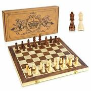 """Chess Set, 15"""" Wooden Chess Set With Folding Board And German Knight Staunton"""