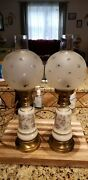 Vintage Pair Frosted Coin Dot Globe Gwtw Hurricane Table Lamp 18 Tall