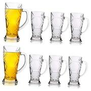 Beer Mugs Set,glass Mugs With Handle 10oz,classic Beer Glasses For