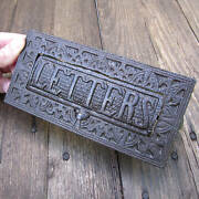 Genuine Antique Ornate 19th Century Cast Iron Letter Box Plate By Kenrick