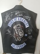 Sons Of Anarchy Signed Vest Xl Charlie Hunnam + More See Description