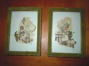 Set 2 Vintage Holly Hobby Handmade Decoupage Shadowbox Pictures Under Glass Euc