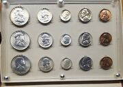 1953 Pds ☆ United States Blazing Bu Mint Set 15 Coins In Old Seitz Case