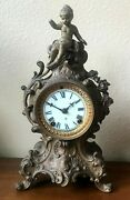 Antique Ansonia 13 Bronze Mantel Chime Clock With Cherub Finial - Not Working