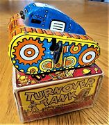 Classic 1940s-50s Marx 5 Tin Wind-up Turnover Toy Tank With Original Box