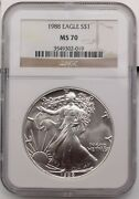 1988 American Silver Eagle Ase 1oz .999 Coin Ngc Graded Ms70 1 Top Pop
