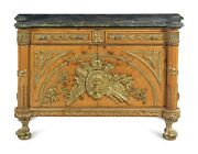 Commode French Style Louis Xvi Style Gilt Metal Mounted Marble-top Cabinet