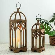 Pack Of 2 Farmhouse Decorative Lanterns Wooden Candle For Wedding Mantle