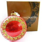 Jay Strongwater Ornament 2002 6 Round Red With Crystals New Tag Box