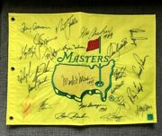 Tiger Woods +23 Former Champs Signed Rare 1997 Auto Augusta Masters Flag Loa