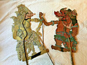 Vintage Pair Of Indonesian Shadow Puppets Antique Hand Made Wow