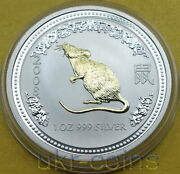 2007 2008 Australia Lunar I Year Of The Mouse Rat 1 Oz Gilded Bu Silver Coin 1