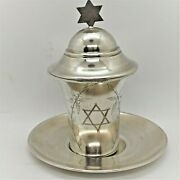 Sterling Silver Kiddush Cup Covered Top By Iraqi Jewish Community Tradition