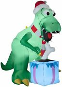 7.5 Ft T-rex With Bone Present Christmas Airblown Lighted Inflatable
