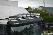 To Fit 10+ Renault Master Steel Top Flat Roof Bar+clamps+jumbo Led Spots - Black