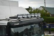To Fit 03-10 Renault Master Steel Flat Roof Bar+jumbo Led Spots+clamps - Black